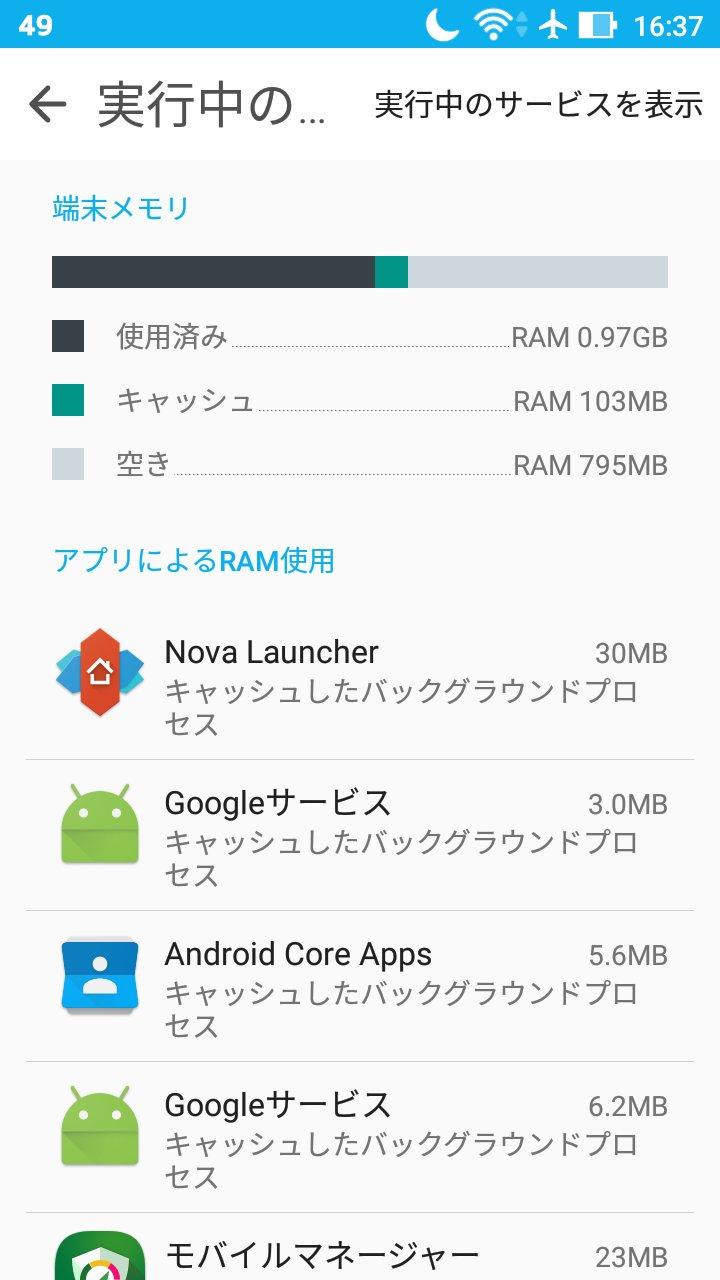 アップデート後アプリの更新をかけた後のメモリ使用状況