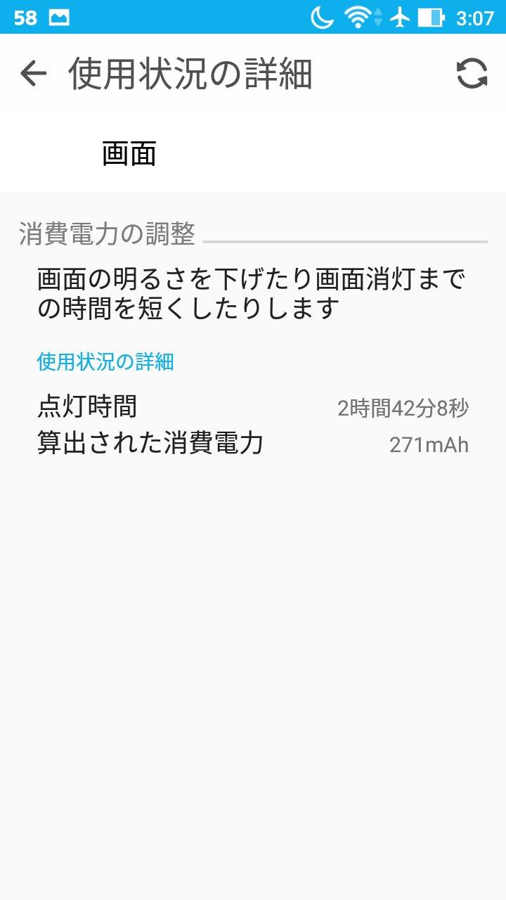 ZenFone Max昨日からのディスプレイ点灯時間