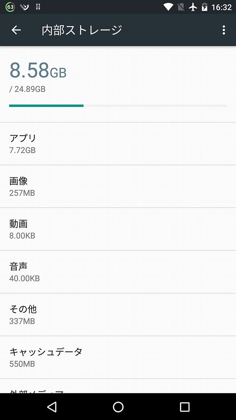 Nexus 5Xアップデート前のストレージ容量