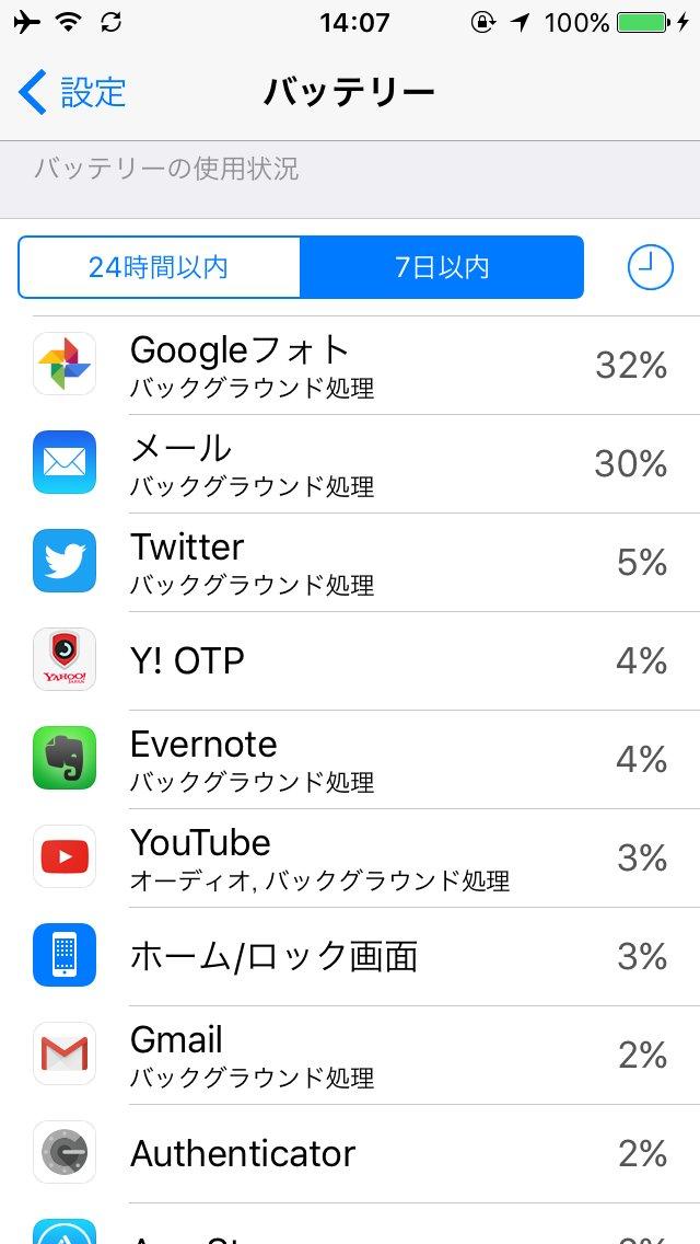 iPhone SEのバッテリー使用状況