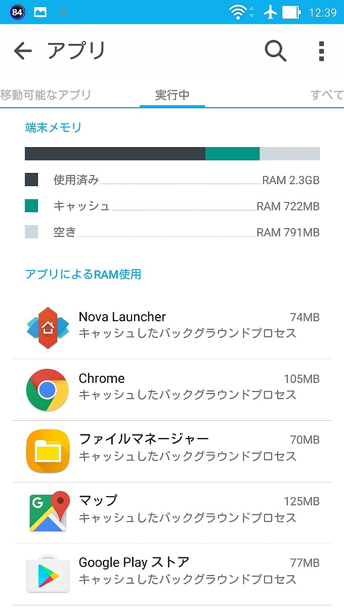 ZenFone 2 Android 5.0 時のメモリ使用状況