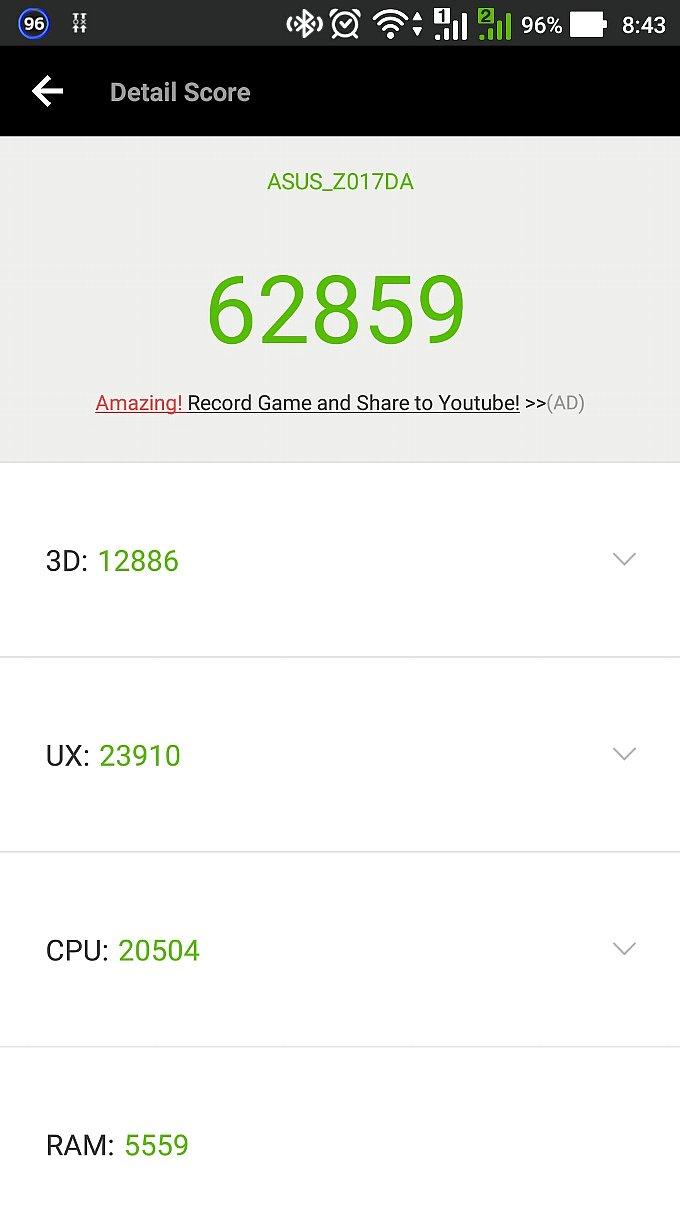 ZenFone 3 の AnTuTu スコア