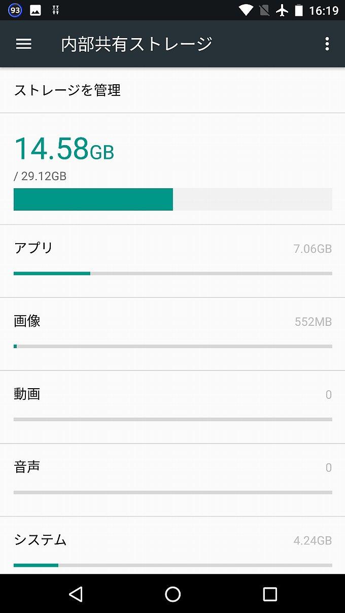 Nexus 5X のストレージに占めるシステム容量