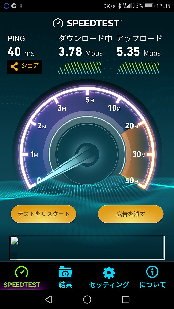 YAMADA SIM PLUS 1GBプランスピードテスト時のグラフ
