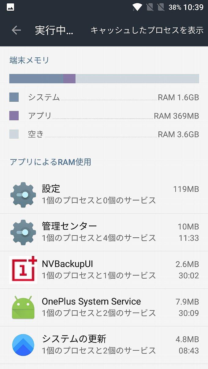 OnePlus 3Tのメモリ使用量その1