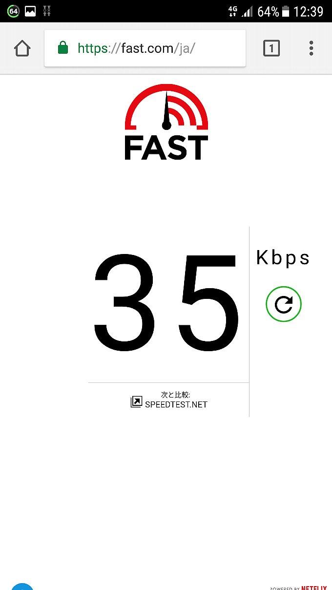 fast.com でのスピードテスト結果