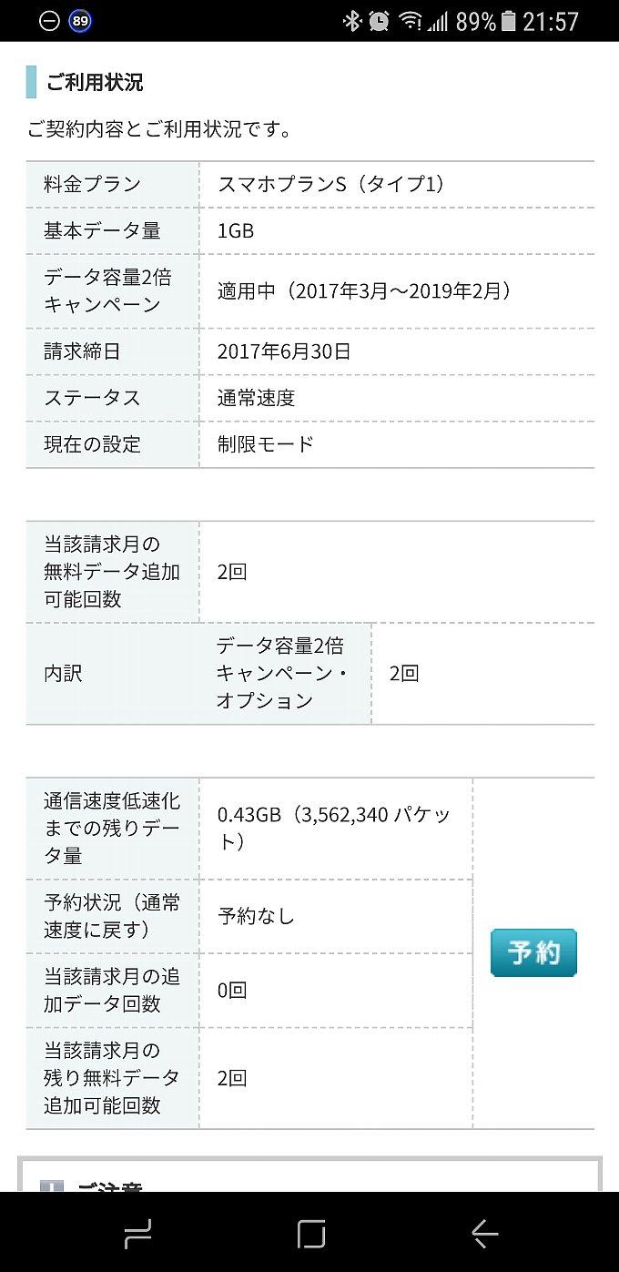 2017年6月分 ワイモバイルの通信量