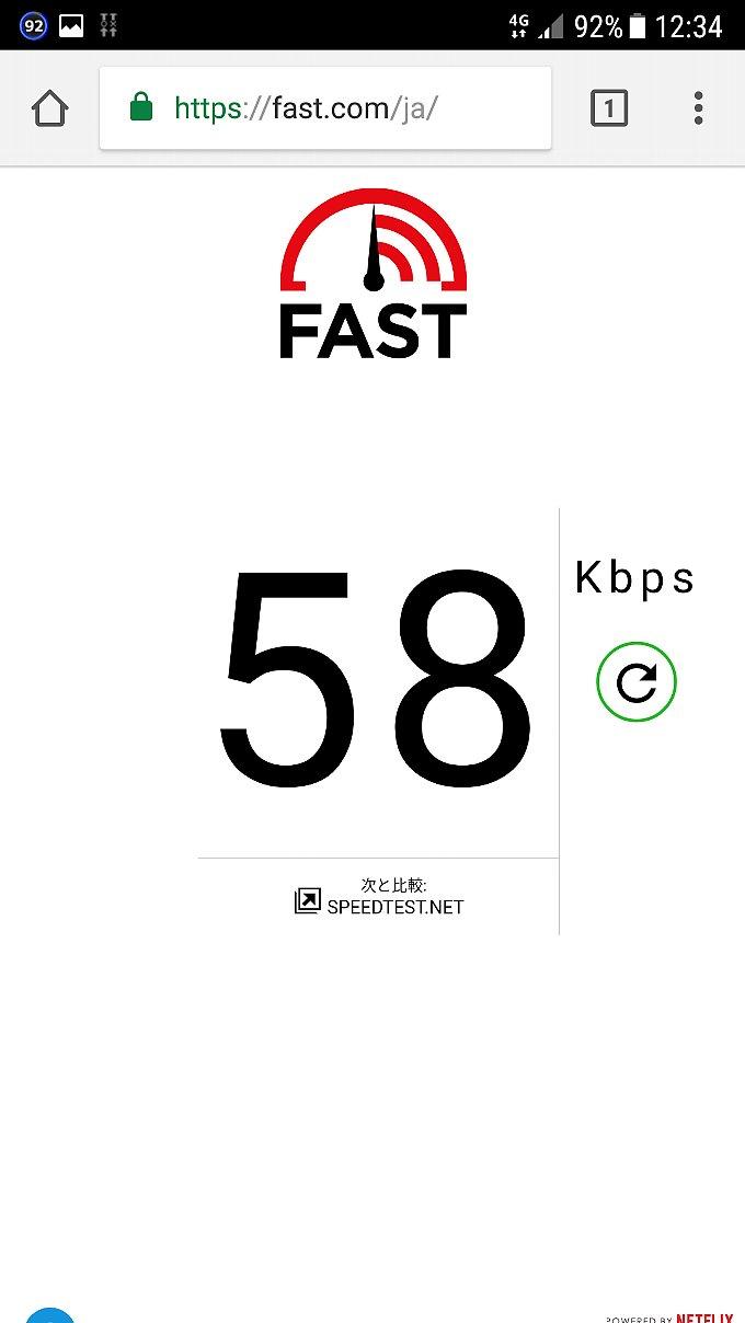 fast.comで計測した結果 0 SIM