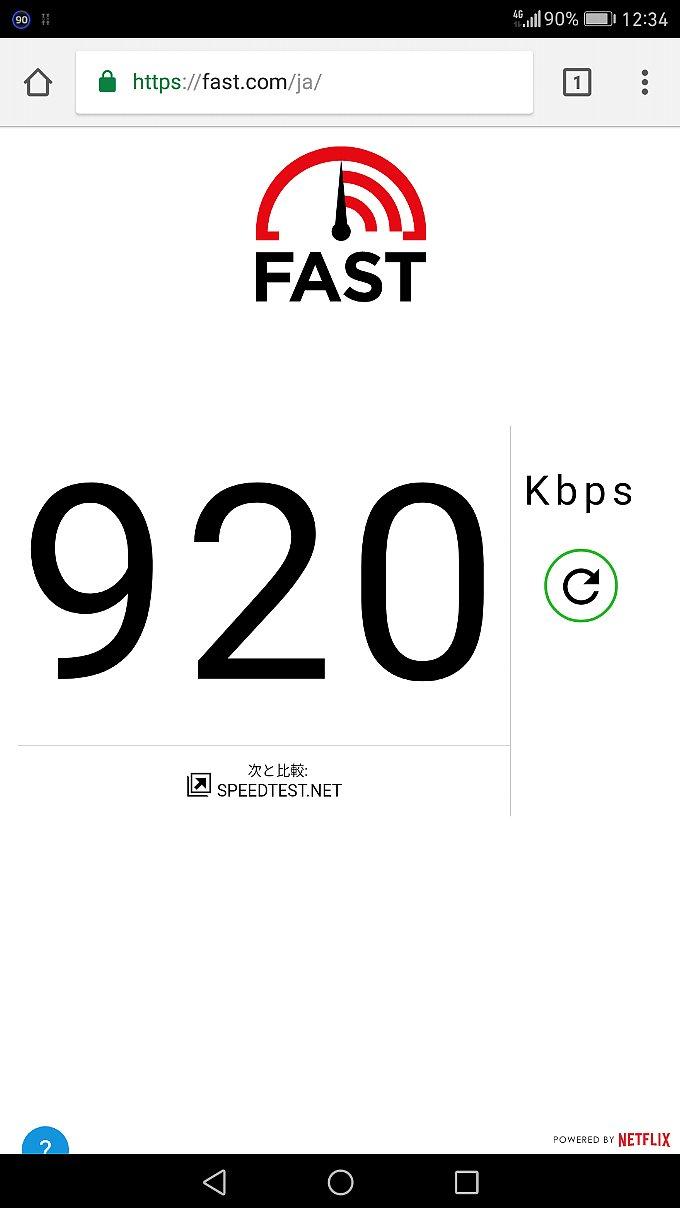 fast.comで計測したLINEモバイルのスピード