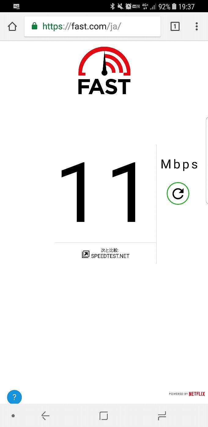 fast.comで計測したドコモのスピード