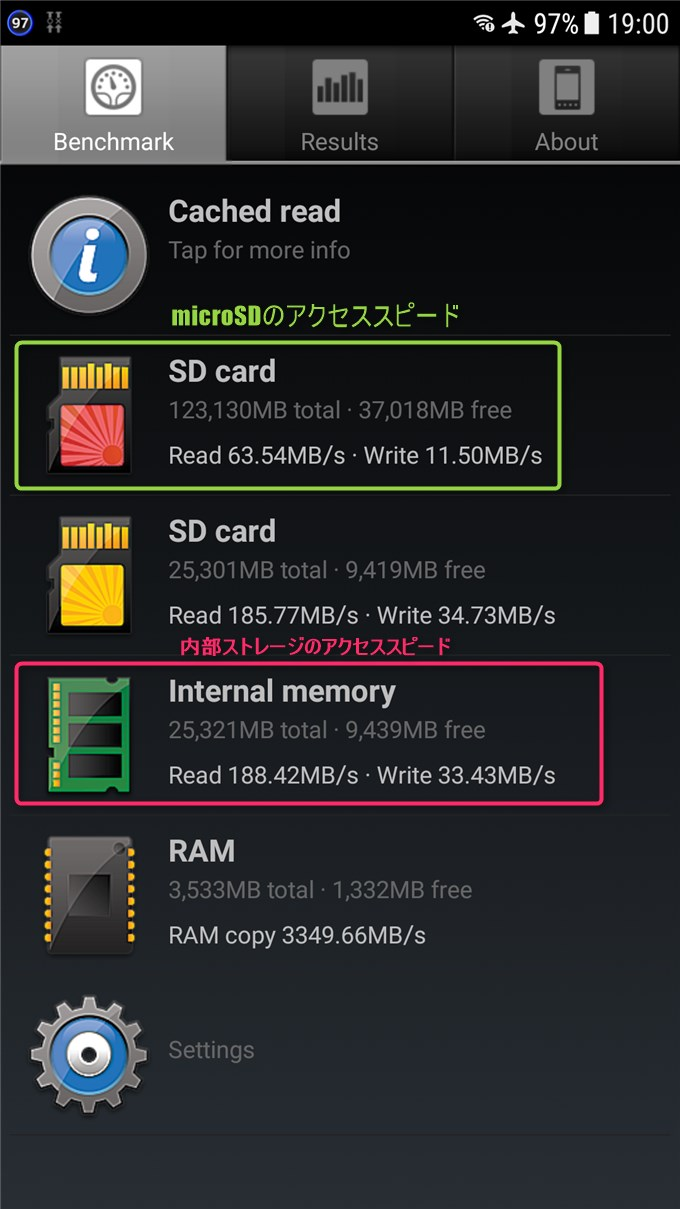 GalaxyS7の内部ストレージとmicroSDのアクセススピード