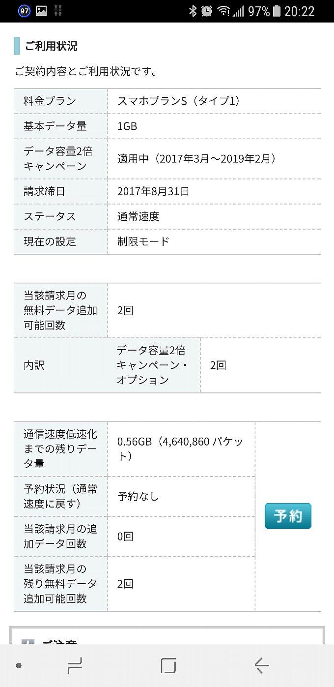 2017年8月分 ワイモバイルのデータ使用量