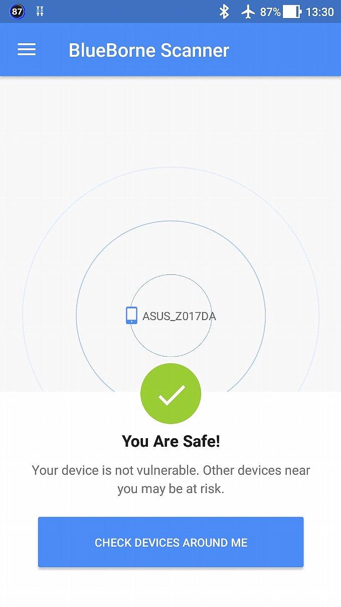ZenFone 3のBlueBorne Scannerアプリでのチェック結果