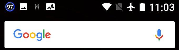 Nexus 5Xで表示サイズを最大に設定した時のステータスバー