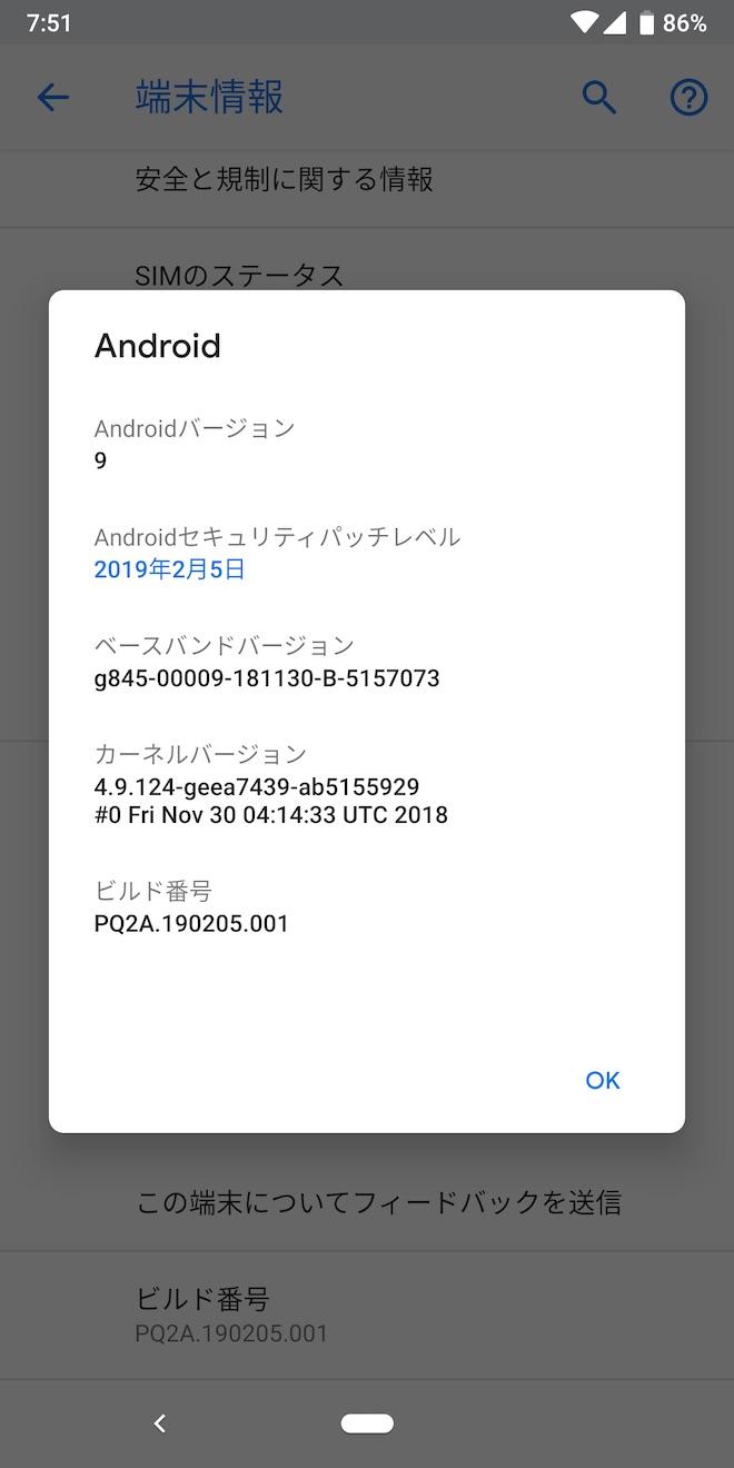 アップデート前のPixel 3の端末情報