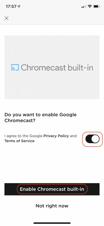 Chromecast機能を使うか聞かれています