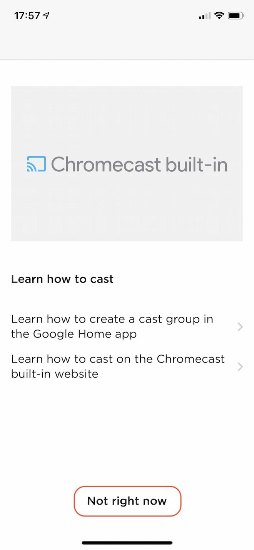 Chromecastについて知りたい場合は上記の選択肢をタップして説明を見ることができます