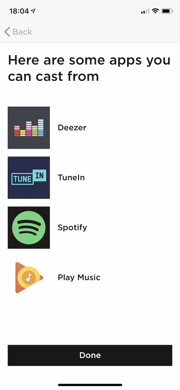 AirPlayではなくGoogle Castを使って他のアプリの音声をスピーカーから流すこともできます