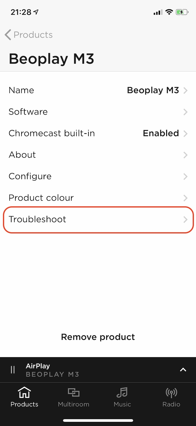 Troubleshootをタップ