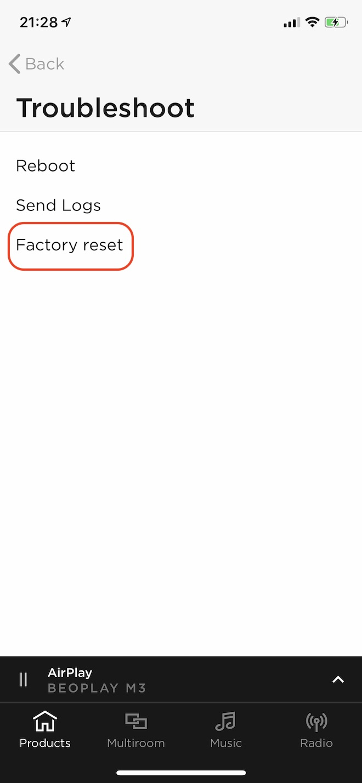Factory resetをタップ