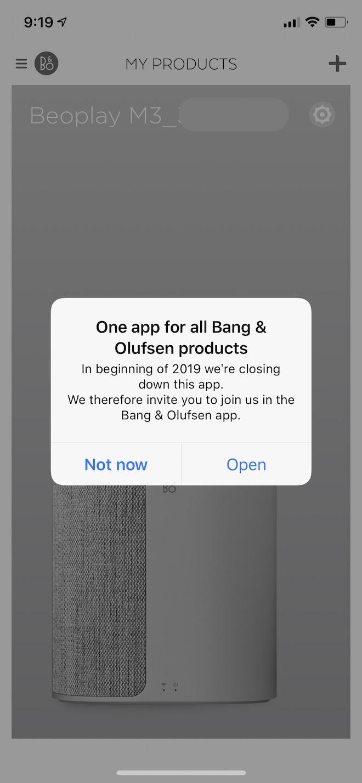 スタートアップガイドにあったBeoplayアプリからの移行を促す表示