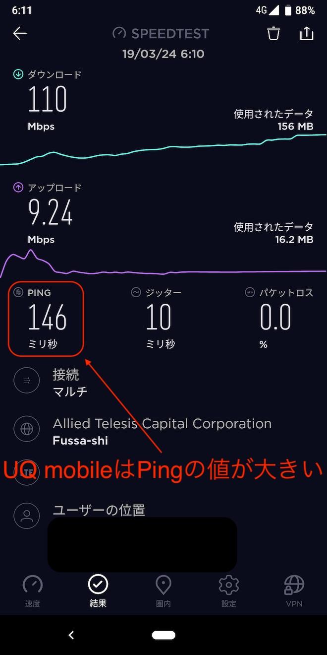 なぜかPingの値が大きいUQ mobile
