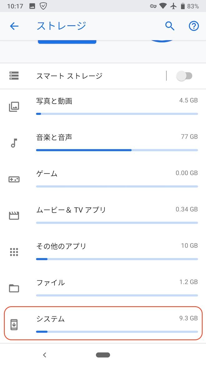 アップデート後のストレージに占めるシステムの容量(Pixel 2)
