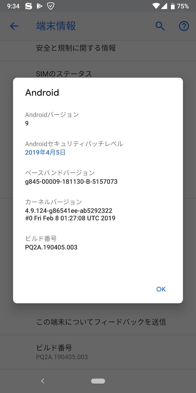 アップデート後のPixel 3の端末情報