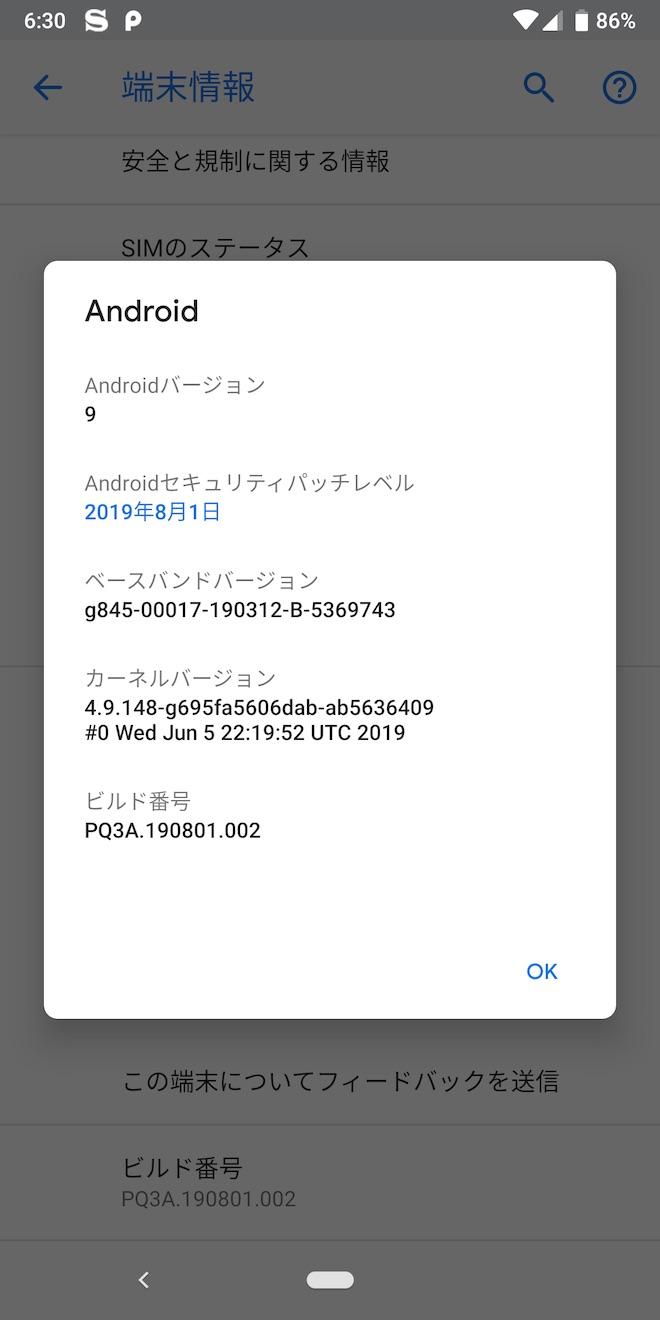 アップデート後の端末情報(Pixel 3)